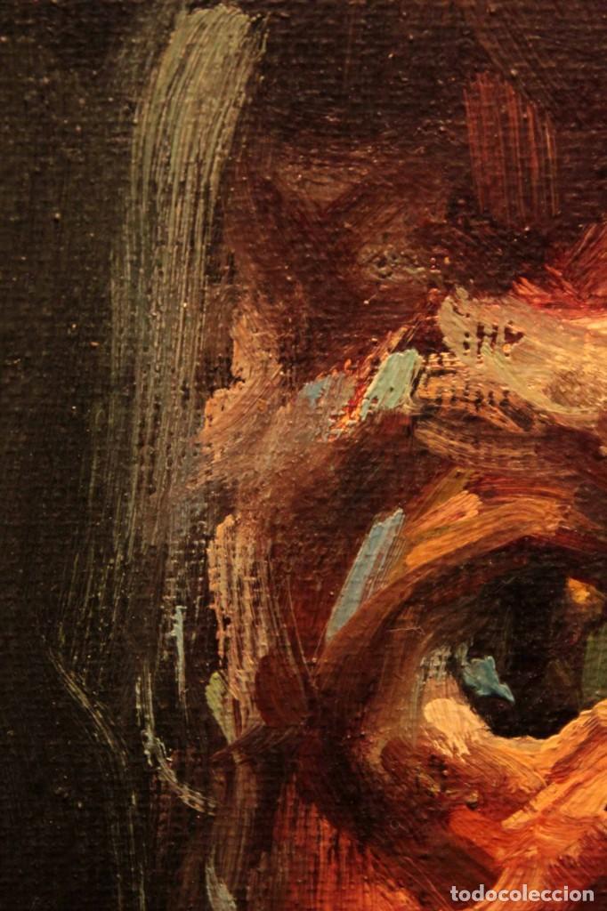 Arte: Oleo sobre lienzo. Excelente calidad. Firmado. El marinero. Primera mitad s.XX. enmarcado 57x49cm - Foto 17 - 237637860