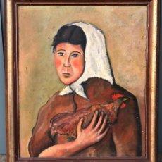 Arte: J.M. VALLÉS - UNA JOVEN, AÑO 1934. ÓLEO SOBRE TELA 54X64 CM. MARCO: 65X76CM. SELLO SALA GASPAR. Lote 237668370