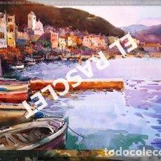 Arte: PINTURA ACUARELA - GRANDE - POBLE MARINE - DE JOSEP MARFA GUARRO DE -BCN - AÑO 1980. Lote 237693805