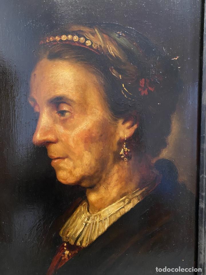 Arte: La vieja dama de la diadema de perlas. Escuela italiana. - Foto 2 - 238030120