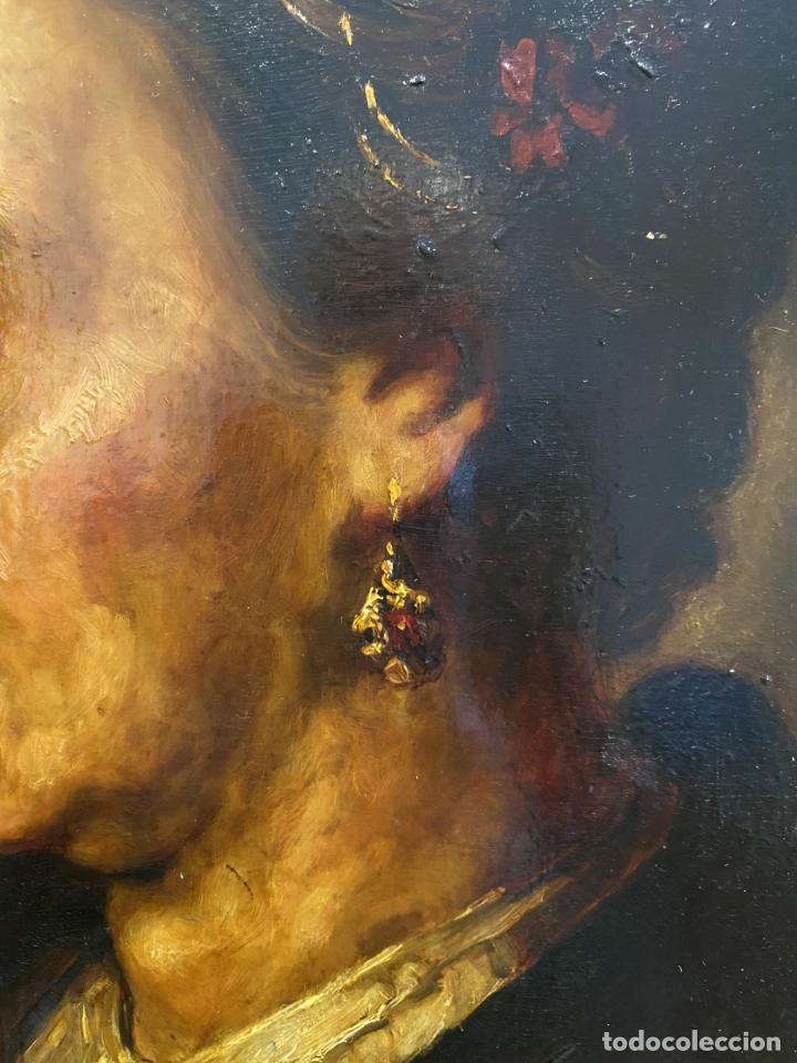 Arte: La vieja dama de la diadema de perlas. Escuela italiana. - Foto 3 - 238030120