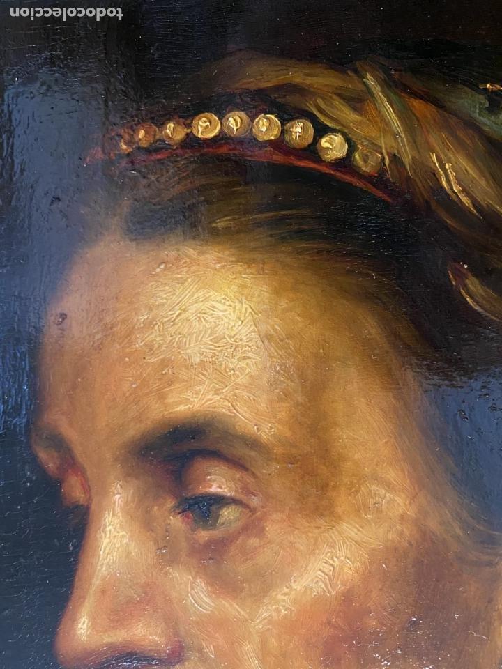 Arte: La vieja dama de la diadema de perlas. Escuela italiana. - Foto 4 - 238030120