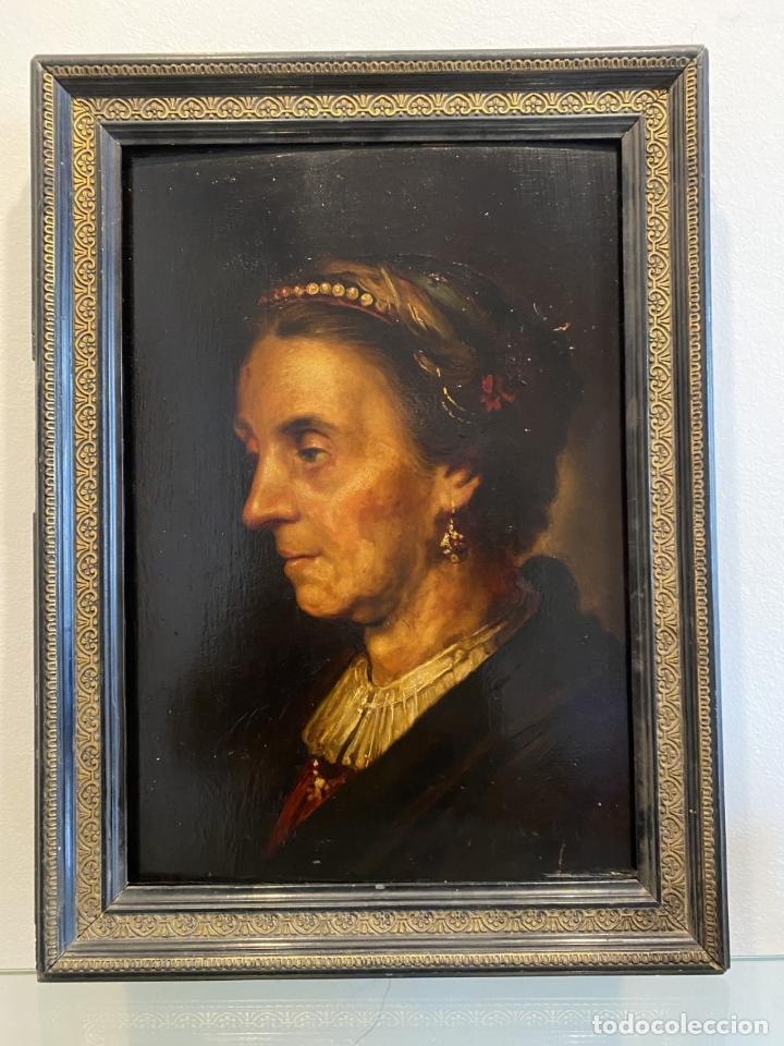 LA VIEJA DAMA DE LA DIADEMA DE PERLAS. ESCUELA ITALIANA. (Arte - Pintura - Pintura al Óleo Antigua siglo XVIII)