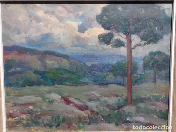 EXCELENTE ÓLEO SOBRE TABLA DE JOAQUIM VANCELLS I VIETA.PAISAJE TORMENTOSO. (Arte - Pintura - Pintura al Óleo Contemporánea )