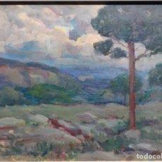 Arte: EXCELENTE ÓLEO SOBRE TABLA DE JOAQUIM VANCELLS I VIETA.PAISAJE TORMENTOSO.. Lote 238148795