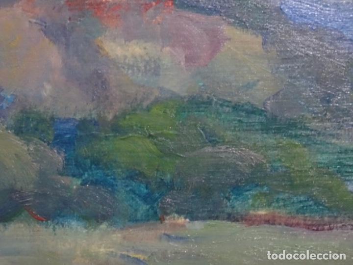 Arte: EXCELENTE ÓLEO SOBRE TABLA DE JOAQUIM VANCELLS I VIETA.PAISAJE TORMENTOSO. - Foto 8 - 238148795