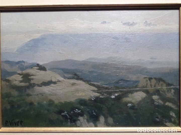 ÓLEO SOBRE TABLA DE PERE VIVER I AYMERICH (1873-1917).PAISAJE DE SANT LLORENS (Arte - Pintura - Pintura al Óleo Contemporánea )