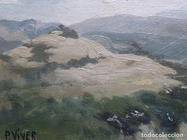 Arte: ÓLEO SOBRE TABLA DE PERE VIVER I AYMERICH (1873-1917).PAISAJE DE SANT LLORENS - Foto 6 - 238150330