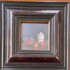 Arte: PRECIOSO LOTE DOS PEQUEÑOS ÓLEOS SOBRE TABLEX - BODEGONES - FIRMADOS R. DE MIRAVENT. Lote 238430465