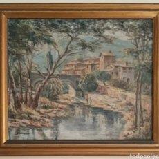 Arte: JOSÉ NAVARRETE OPPELT (MÁLAGA, 1872-1939) - PAISAJE FLUVIAL CON PUEBLO Y FIGURAS.OLEO/TELA.FIRMADO.. Lote 140120360