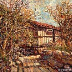 Arte: CAMPO CON HORREO CARLOS LENCINAS LOPEZ CACABELOS 1925. Lote 239386425
