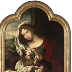 Arte: VIRGEN CON NIÑO ESCUELA FLAMENCA DEL SIGLO XVI CÍRCULO DE JAN GOSSAERT MABUSSE. Lote 239829840
