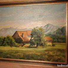 Arte: PRECIOSO OLEO SOBRE SACO MASÍA ,FIRMADO C BESSE, AÑOS 40/50. Lote 239976090