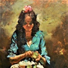 Arte: GITANA PELANDO FRUTA JOSEP SERRASANTA 1916 - 1988. Lote 240082755