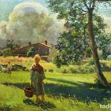 Arte: NIÑOS EN EL CAMPO JOAN BAIXAS CARRETER 1863 - 1925. Lote 240341085