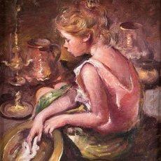 Arte: NIÑA CON CALDERO DE COBRE ROSEND GONZALEZ CARBONELL 1910 - 1984. Lote 240352195