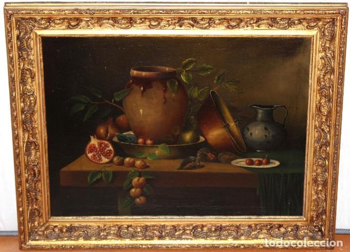 ESCUELA ESPAÑOLA DE FINALES DEL SIGLO XVIII. OLEO SOBRE TELA. BODEGON (Arte - Pintura - Pintura al Óleo Antigua siglo XVIII)