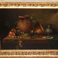 Arte: ESCUELA ESPAÑOLA DE FINALES DEL SIGLO XVIII. OLEO SOBRE TELA. BODEGON. Lote 240455010