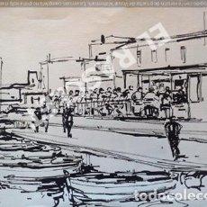 Arte: CUADRO DIBUJO A TINTA - LLANÇÀ - DEL PINTOR - JOSEP MARFA GUARRO BCN - AÑO 1980. Lote 240465825