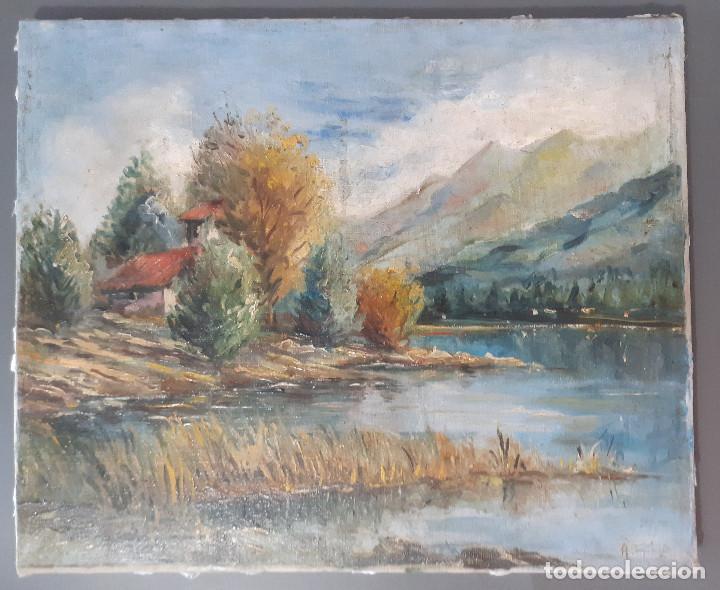 PAISAJE, SIGLO XIX, ÓLEO RESTAURADO (Arte - Pintura - Pintura al Óleo Moderna siglo XIX)