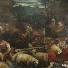 Arte: ÓLEO SOBRE LIENZO ESCENAS COTIDIANAS DE LA ÉPOCA CIRCULO DE PEDRO ORRENTE SIGLO XVII. Lote 240702520