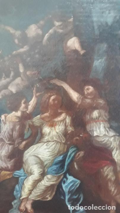 Arte: magnifica pintura al oleo de fin del xvii principios xviii tema mitologico con angeles,marco antiguo - Foto 2 - 240771520