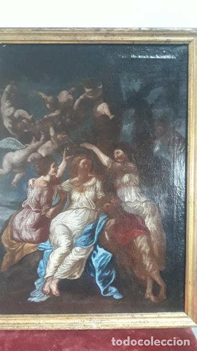 Arte: magnifica pintura al oleo de fin del xvii principios xviii tema mitologico con angeles,marco antiguo - Foto 6 - 240771520