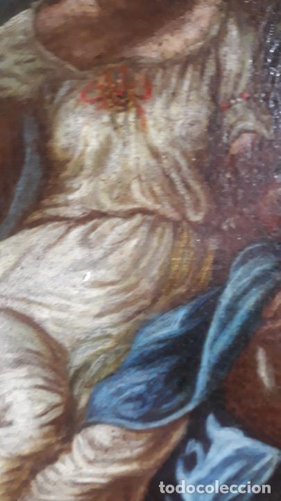 Arte: magnifica pintura al oleo de fin del xvii principios xviii tema mitologico con angeles,marco antiguo - Foto 9 - 240771520