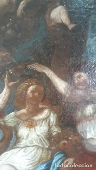Arte: magnifica pintura al oleo de fin del xvii principios xviii tema mitologico con angeles,marco antiguo - Foto 10 - 240771520