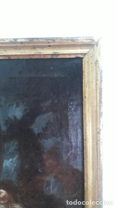 Arte: magnifica pintura al oleo de fin del xvii principios xviii tema mitologico con angeles,marco antiguo - Foto 16 - 240771520