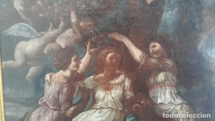 Arte: magnifica pintura al oleo de fin del xvii principios xviii tema mitologico con angeles,marco antiguo - Foto 4 - 240771520
