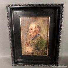 Arte: PINTURA AL ÓLEO SOBRE MADERA. HOMBRE CON PIPA. CHECOSLOVAQUIA 1900. Lote 240864055