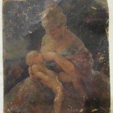 Arte: OLEO SOBRE LIENZO - VALENCIANA AMAMANTANDO A UN NIÑO - FIRMADO -. Lote 241024805