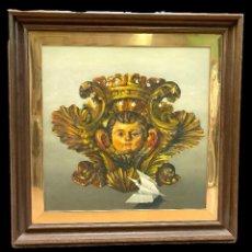 Arte: ESPECTACULAR ÓLEO SOBRE TABLA. REPRESENTA UN ÁNGEL DE RETABLO DEL SIGLO XVII. MARCO DE ROBLE.94X94. Lote 124191519