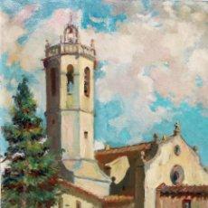 Arte: JACINT OLIVÉ FONT (BARCELONA, 1896 - 1967) OLEO SOBRE TELA. EL CAMPANAR DE CENTELLAS. 61 X 50 CM.. Lote 241141600