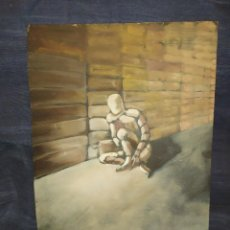 Arte: ANTIGUO OLEO SOBRE TABLA SIN FIRMA APARENTE HOMBRE BIÓNICO? CIBER?SE AGRADECE INFORMACIÓN. Lote 241147095