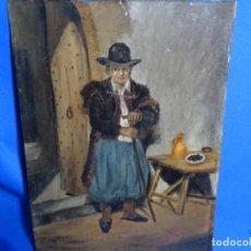 Arte: ÓLEO SOBRE PLACA DE CINC DEL AÑO 1883 ILEGIBLE.COPIA DE PAYES MALLORQUÍN DE BAURA 1873.. Lote 241438900