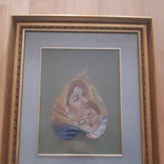 Arte: VIRGEN MARÍA Y JESÚS PINTADO AL OLEO SOBRE HOJA ENMARCADA Y ACRISTALADA. VER DESCRIPCIÓN. Lote 241454505