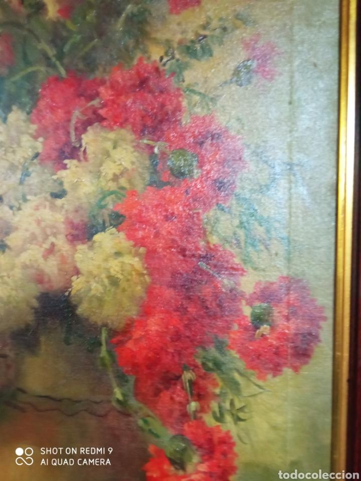 Arte: Bonito bodegón de flores XlX firmado óleo sobre lienzo - Foto 5 - 215063595