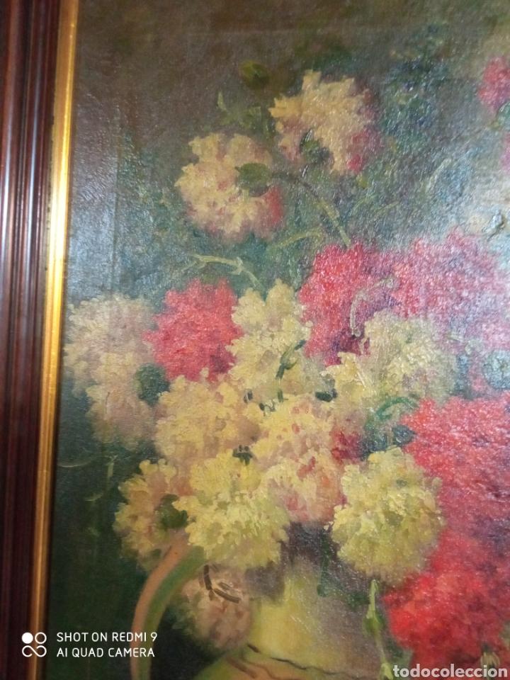 Arte: Bonito bodegón de flores XlX firmado óleo sobre lienzo - Foto 6 - 215063595