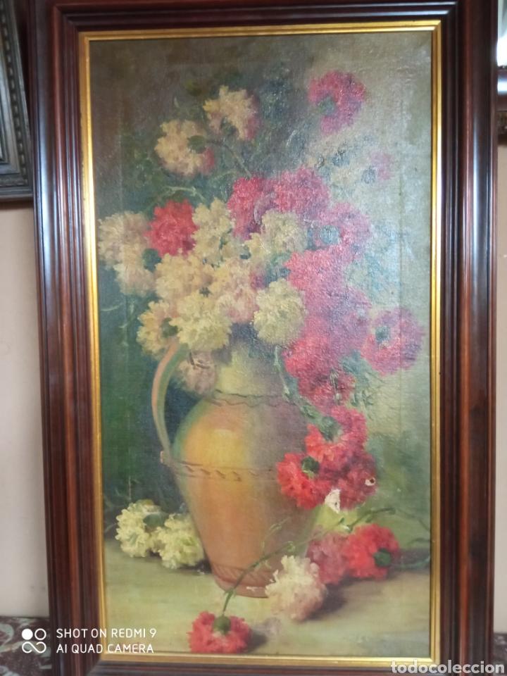 Arte: Bonito bodegón de flores XlX firmado óleo sobre lienzo - Foto 8 - 215063595