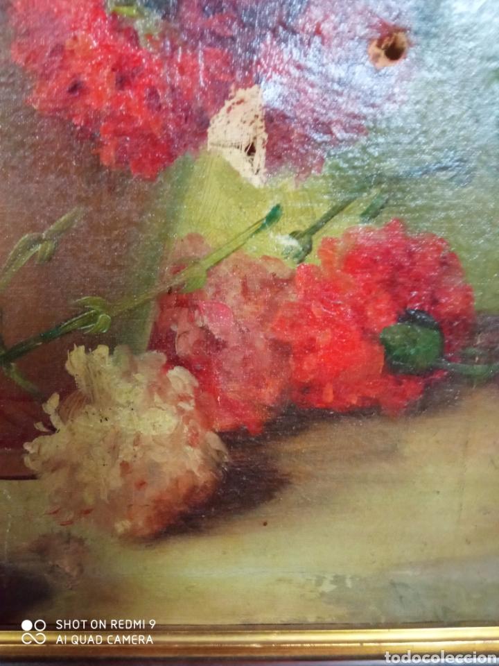 Arte: Bonito bodegón de flores XlX firmado óleo sobre lienzo - Foto 9 - 215063595