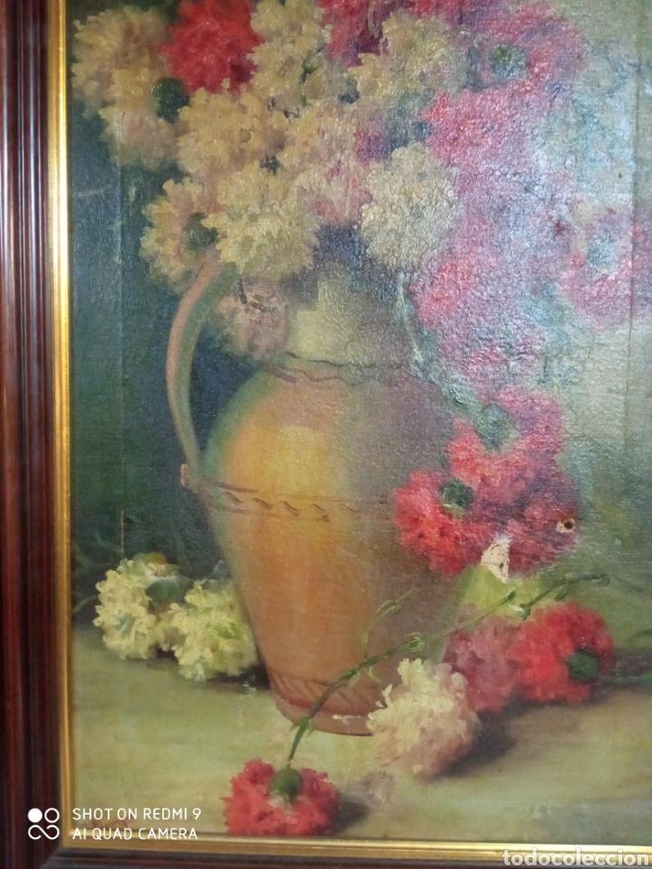 Arte: Bonito bodegón de flores XlX firmado óleo sobre lienzo - Foto 10 - 215063595