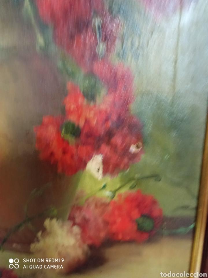 Arte: Bonito bodegón de flores XlX firmado óleo sobre lienzo - Foto 11 - 215063595