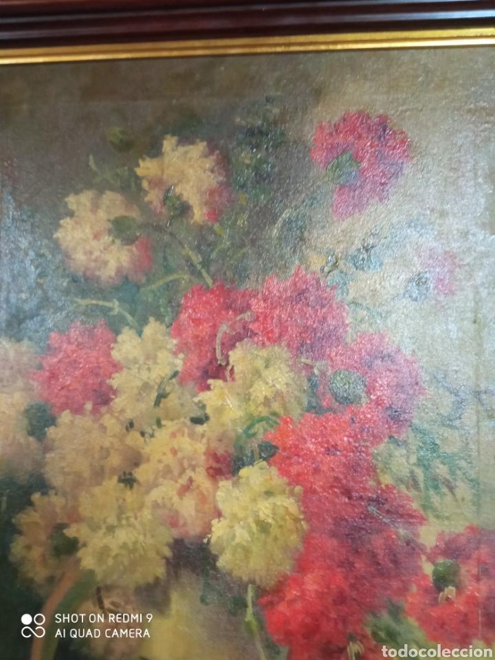 Arte: Bonito bodegón de flores XlX firmado óleo sobre lienzo - Foto 12 - 215063595