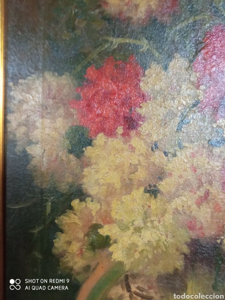 Arte: Bonito bodegón de flores XlX firmado óleo sobre lienzo - Foto 13 - 215063595