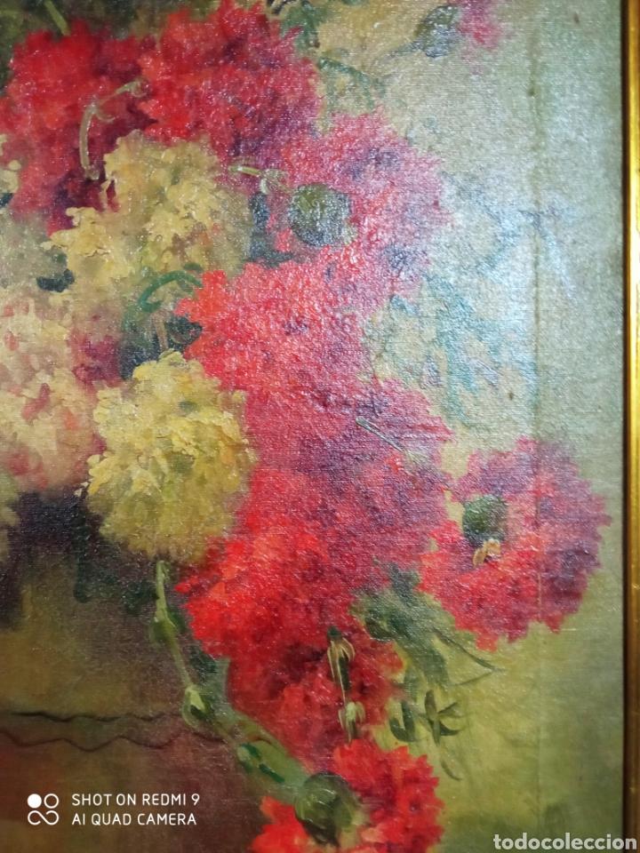 Arte: Bonito bodegón de flores XlX firmado óleo sobre lienzo - Foto 14 - 215063595