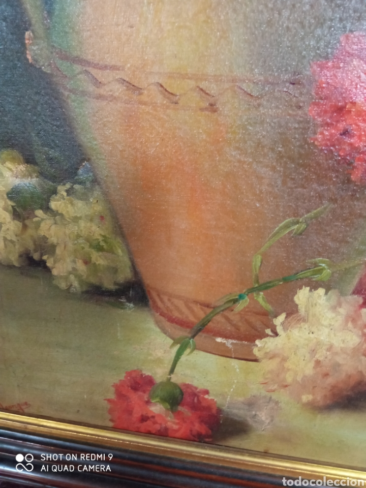 Arte: Bonito bodegón de flores XlX firmado óleo sobre lienzo - Foto 15 - 215063595