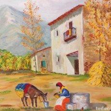 Arte: CUADRO PINTADO EN TELA PAISAJE FIRMADO 97 X 70,5. Lote 241924785