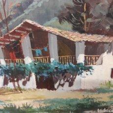 Arte: CUADRO PINTADO CASA EN LA MONTAÑA FIRMADO NECESITA ALGO DE RESTAURACIÓN 85X69. Lote 241935730